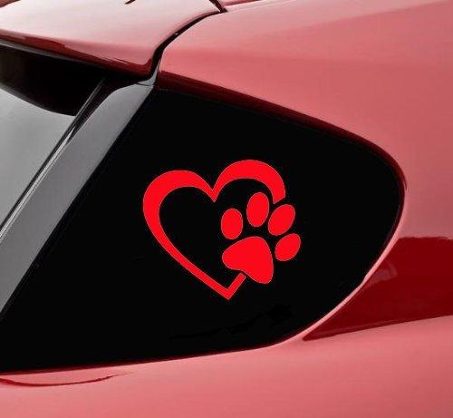 Herz mit Hundepfoten Puppy Love 10.16 cm (Farbe: rot)-Vinyl Decal Window Sticker für Autos, LKW, Fenster, Wände, Laptops und andere Dinge. -
