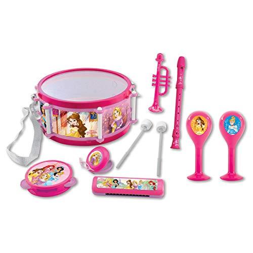 Lexibook Disney Prinzessin Rapunzel Aschenputtell Musikspielzeug, Musik-Set, 7 Musikinstrumenten (Trommel, Maracas, Castanet, Harmonika, Blockflöte, Trompete, Tamburin), Spielzeug Bequem zu tragen, Rosa/Violett, K360DP
