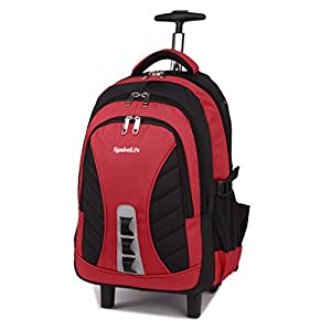 SymbolLife Wheeled Backpack High Capacity Laptop Roller Bag on Wheels 18-Inch Business Backpack