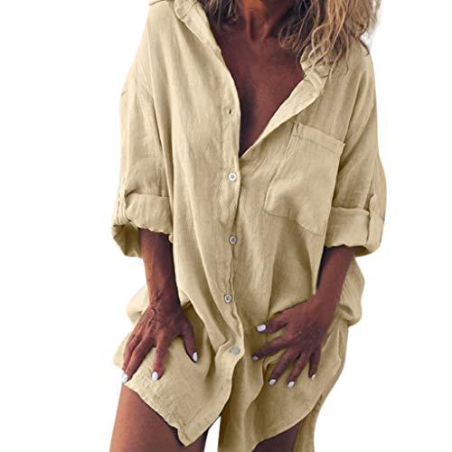 POPLY Frauen T-Shirt Tops Bluse für Damen Mode Lässig Baumwolle-Leinen Einfarbig Reine Langarm Shirt (Khaki,2XL) -