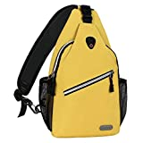 MOSISO Sling Bag, Polyester Water Repellent Chest Shoulder Gym Fanny Outdoor Hiking Backpack, Yellow