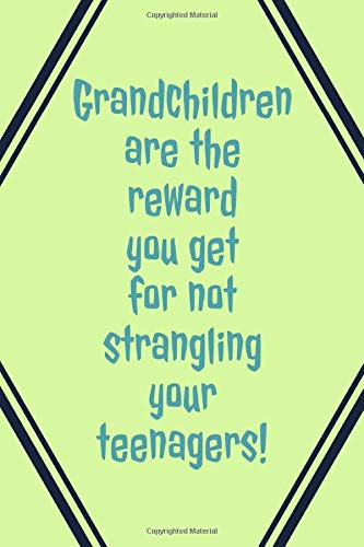 Grandchildren Are: The Reward You Get For Not Strangling Your Teenagers! - Specialty Funny Sarcasm Saying - Journal With Lines