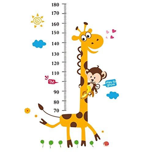 Yeahibaby - Misuratore a parete altezza del bambino, misuratore di altezza grafico per seguire la crescita dei bambini. Decorato con scimmia e giraffa.