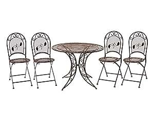 Garten Garnitur Tisch + 4 Stühle Eisen Gartenmöbel Nostalgie antik Stil braun