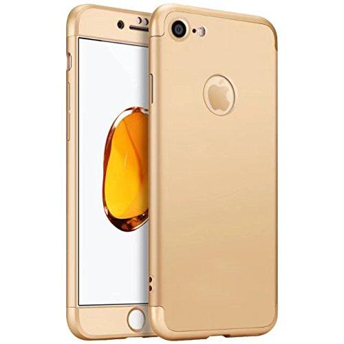 Coque iPhone 7 Plus, 360 Degres Intégrale Protection 3 en 1 Étui Hybride, Antichoc Housse Non Slip en Dur PC, Anti-empreinte digitale & Résistant aux rayures Durable Léger Bumper Case - Or Or