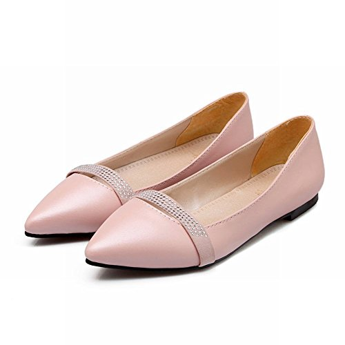 MissSaSa Damen flach Slipper mit Strass süß und bequem Pointed Toe Kleidschuhe Pink
