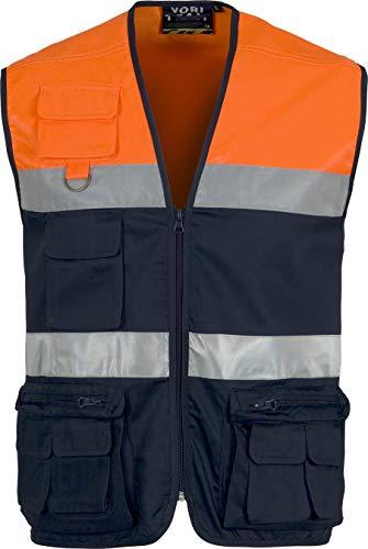 Work Team Chaleco Tipo Safari Multibolsillos Bicolor, con Dos Cintas de Alta Visibilidad. Hombre Marino+naranja A.v. S