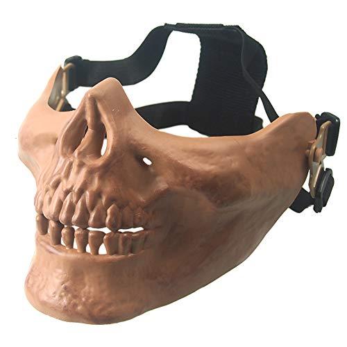 CARACHOME Half Face Mesh Totenkopf Maske, Militär CS Maske, Outdoor Sports Taktische Protective Maske Mit Verstellbarem Gurt, Geeignet Für BB Gun Cosplay Jagd Paintball Halloween Masquerade