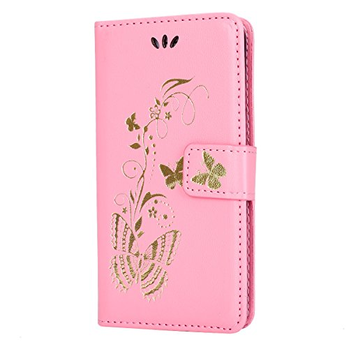 iPhone 6S Hülle,iPhone 6 Hülle,SainCat Apple iPhone 6/6S (4,7 Zoll) Leder Wallet Tasche Handyhülle [Diagonal Rose Muster] Ledertasche Brieftasche im BookStyle PU Leder Hülle Wallet Case Folio Rose Gol Golden Butterfly-Rosa