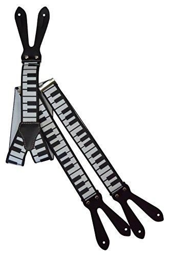 pfloch, Echt Lederriemen und Muster - 3.5cm. Klavier-Schlüssel (Hosenträger Klavier)