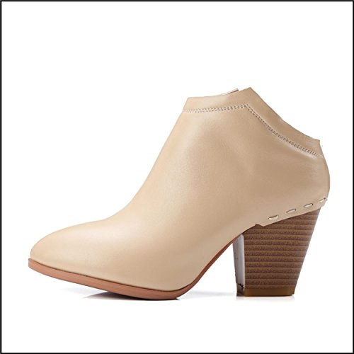 WSS chaussures à talon haut Haute bottes pour dames avec chunky talons chaussures pointue marée de cuir Joker nue bottes bottes beige