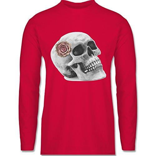 Shirtracer Rockabilly - Totenkopf Rose Vintage Skull - Herren Langarmshirt Rot