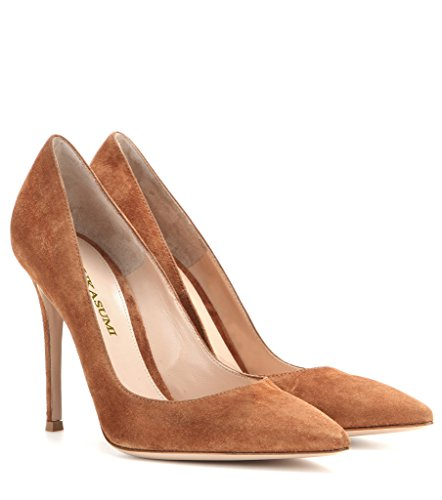 EDEFS Femmes Artisan Fashion Escarpins Unis Classiques Lady Travail Bureau Pointus Des Couleurs Chaussures à talon haut de 100mm Brun