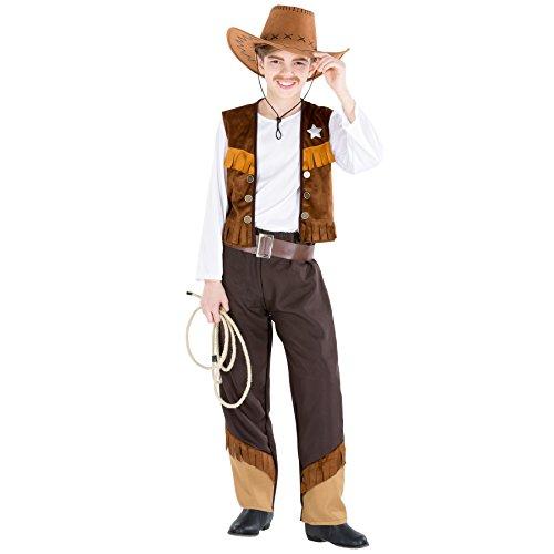 Jungenkostüm Cowboy Luke | inkl. Kunstleder-Gürtel und Weste mit Stern (10-12 Jahre | Nr. 300619)