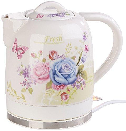 Rosenstein & Söhne Teekanne: Keramik-Wasserkocher mit Blumenmuster, 1,7 Liter, 1.500 Watt (Vintage Wasserkocher) Retro Keramik