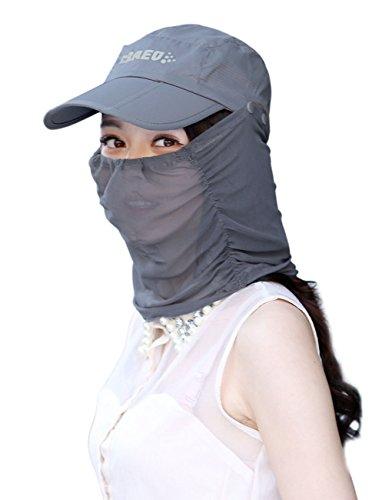 Liyinguk 2 en 1 Casquette Cyclisme / Chapeau Avec Masque de Protection 360° Visage Bob de Soleil Pliable Anti-UV Camouflage Sun Hat Capeline Anti-moustique Bonnet Anti-Poussière Coupe-vent Pour Randon Gris