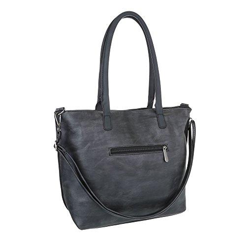iTal-dEsiGn Damentasche Mittelgroße Schultertasche Handtasche In Used Optik Kunstleder TA-C-569 Schwarz Grau