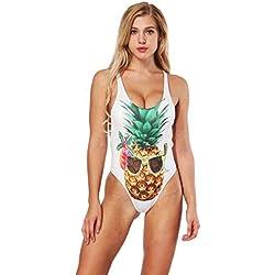Bañador de una Sola Pieza de Estampado Digital de piña Bikini Sexy de Halter de Cuello en U (Color, Tamaño : S)