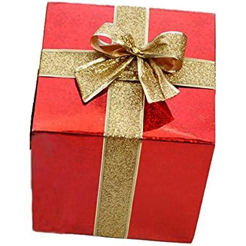 Decoración De Navidad De Cartón Caja De Regalo De Navidad(15cm;Rojo)