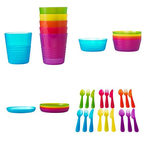 IKEA CHILDRENS KALAS 36 PIECE PLASTIC CUTLERY SET - 6 X KNIVES, 6 X FORKS, 6 X SPOONS, 6 X BOWLS, 6 X PLATES & 6 X CUPS