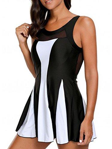 Azue Damen Badekleid Tankini Bauchweg Effekt Elegante Badeanzug mit Röckchen Schwimmkleid