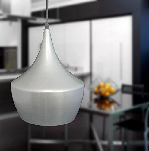 Luminaire lampe suspension métal argent intérieur