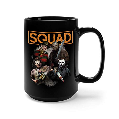 Freddy Jason Michael Myers and Leatherface Squad Hall Ceramic Coffee Mug Tea Cup (11oz, White)