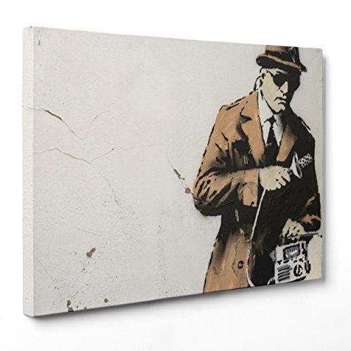 Bild auf Leinwand Canvas-Gerahmt-fertig zum Aufhängen-Banksy-Street Art Dimensione: 30x40cm A - Senza Cornice