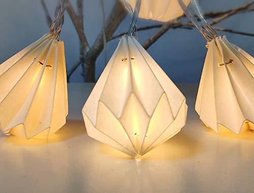 ELUME Lichterkette für den Innenbereich I 12 Origamis weißes Papier in Diamantform LED warmweiß I 3 m lang I Stromversorgung USB I Dekoration Schlafzimmer Haus Wohnzimmer -