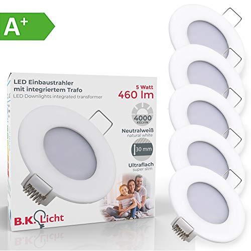 LED Einbauleuchte ultra flach Ø85mm weiß inkl. 5 X 5W 460lm LED-Platinen 4000K IP23 LED Einbaustrahler Led-platine