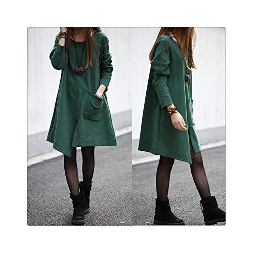 Dress Fashion Women Pure Color Pure Cotton Big Pocket Long Sleeves Dress Loose Long Section Dress Women 2018AUG1 Green L Rogers Silhouette
