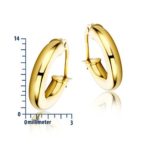Miore - Boucles d'Oreilles créoles Femme Or Jaune 375/1000 (9 carats) Jaune
