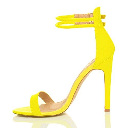 Sandali da Donna Tacco Alto a Stiletto Doppio Cinturnino Giallo neon