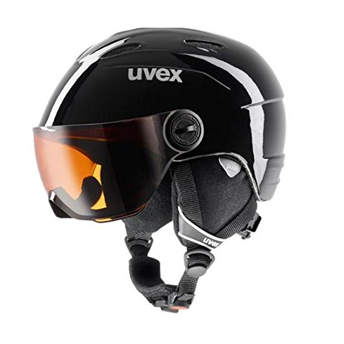 UVEX Kinder Junior Visor Skihelm, Black, 54-56 cm