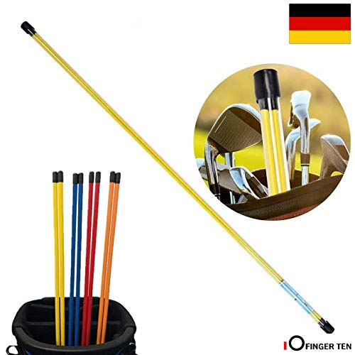 FINGER TEN Golf Alignment Stix Training Schwunganalysegeräte Golfschwung Trainer Set of 2 Practice Aid Tour Rodz Sticks 115cm Long Gelb Orange Weiß Blau Rot (Gelb)