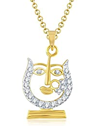 Sukkhi Dazzling Gold And Rhodium Plated Cubic Zirconia Stone Studded God Pendant With Chain For Unisex