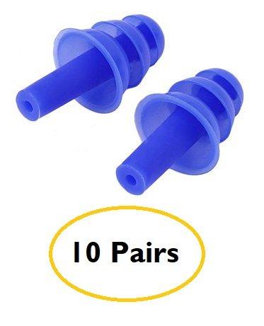 10pares natación/buceo flexible suave tapones para los oídos de silicona, color azul (20pcs/10pares)