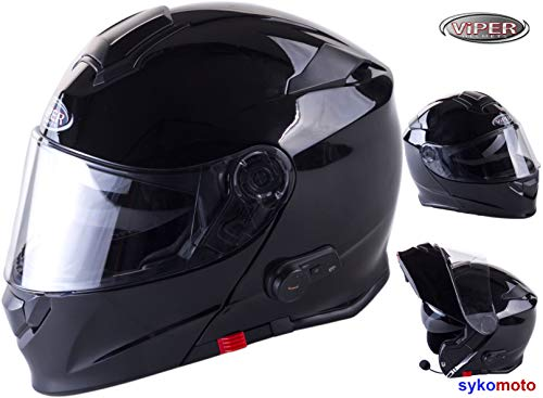 VIPER Moto Casque Bluetooth V171 Modulaire Casque Scooter Casque Noir Brillant