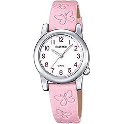 Calypso Children's Watch Floral Elegant Analogue Leather Strap Watch Pink Junior Quartz Watch UK5711/2