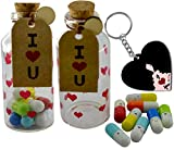 ME & YOU Love Gifts Cute Glass Bottle with Love Message Capsules and Heart Keychain for Your Love One