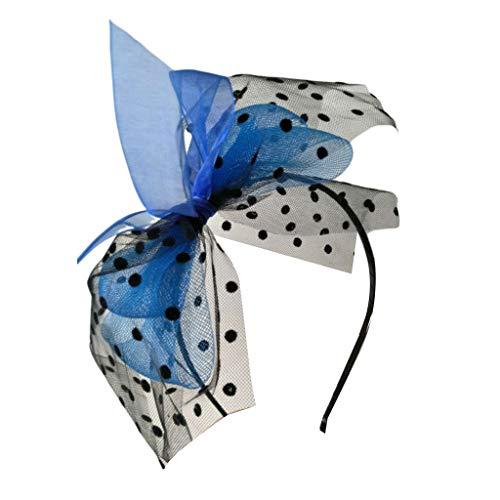Yanhonin Damenhut, Vintage, Tea, Party, Fascinatoren, Haarband, gepunktet, Schleife, Haarreifen aus Netzstoff, Cocktail-Hochzeit, Kentucky Derby blau (Bridal Shower Derby Kentucky)