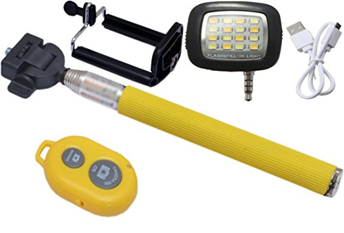 Novo Style Bluetooth Wireless Remote Shutter Selfie Stick - Yellow Compatible with LG H540D Titan & 16 LED Selfie Night Flash Light Accessory Combo  available at amazon for Rs.396