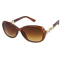 VESPL Brown Full Rim Oversized UV Protected Medium (Size-60) Sunglasses - V-6124