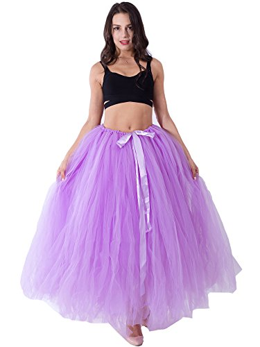Dorchid handmade fotografia di maternità 100 cm lungo adulto Puffy tutu gonna tulle per le donne piano lunghezza nozze costume partito gonne per il servizio fotografico Light Purple