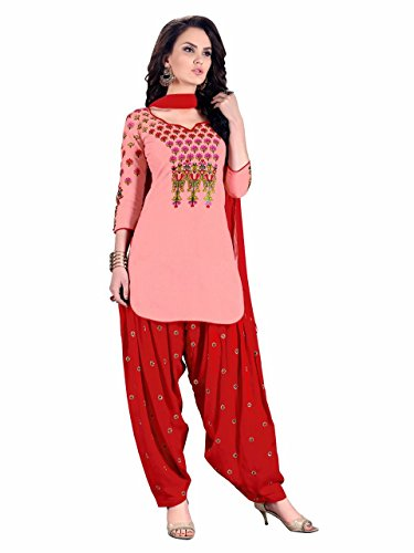 AnK Sale Offer Women\'s Cotton Pink & Red Color Patiala Semi Stitched Salwar Suit