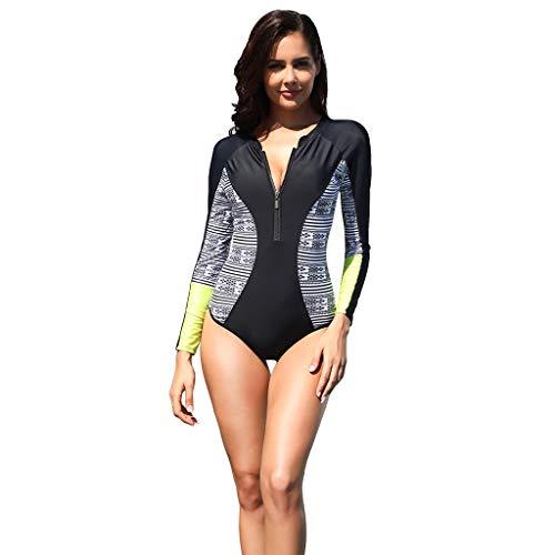 AmyGline Damen Einteiler Badeanzüge UV-Schutz Neoprenanzug Rash Guard Langarm Zip Baden Surf Anzug Bademode Einteiler Swimsuit Wetsuit