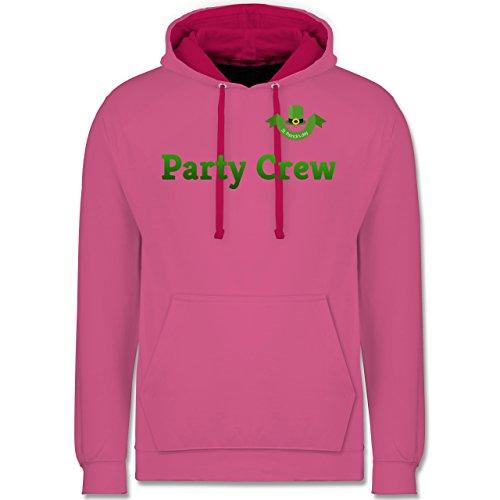 Festival - St. Patricks Day Party Crew - Kontrast Hoodie Rosa/Fuchsia