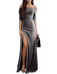 Dearlove Damen Off Shoulder Kleider für Hochzeit Elegant Maxikleider  Glänzend Hoch Geschnitten Abendkleider 2102b65bf7