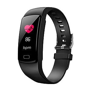 Chenang Fitness Trackers Armband Smartwatch Damen Herren Schrittzähler Fitnessuhr Wasserdicht IP67 Vibrationsalarm Whatsapp Facebook Twitter Anruf SMS Beachten mit iOS Android-Schwarz