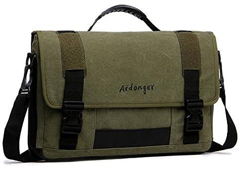 Aidonger Unisex Canvas 17.3- Inch Laptop Bag Retro Messenger Bag (Army green)
